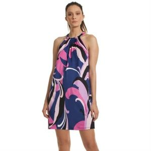 Trina Turk Purple JuJu Abstract Print Halter Dress